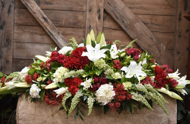 Red & white casket cover