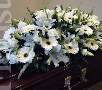 All white casket cover