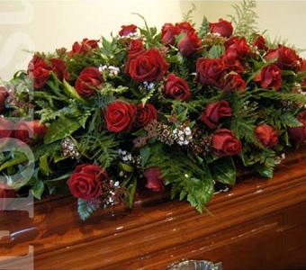 Roses & foliage casket cover